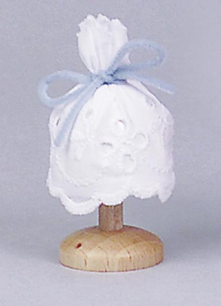 Puppenhaus Miniatur Tischlampe 3,5V mit Holzfuß mit Stoffschirm
