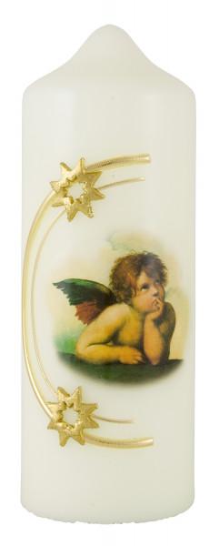 Weihnachtskerze, Motiv Raffael Engel, Sterne gold