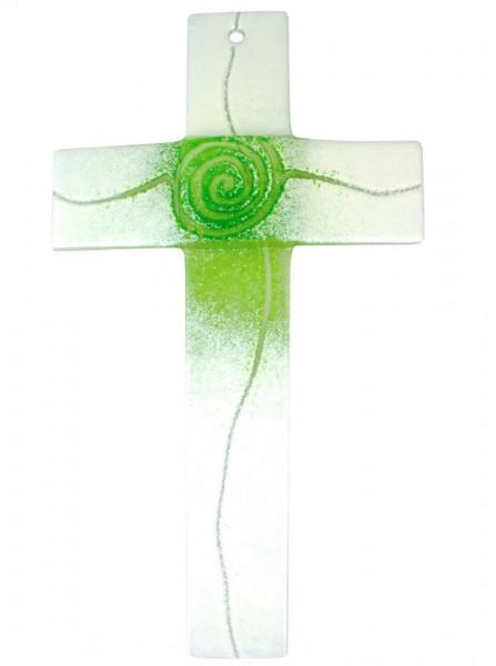 Glaskreuz Spirale hellgrün/weiß, 20x12x4cm