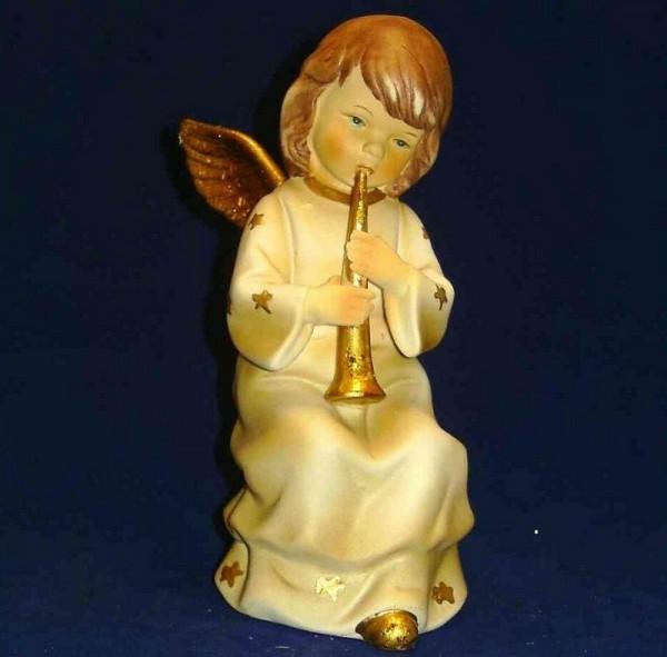 Engel Porzellan musizierend 15cm Flöte