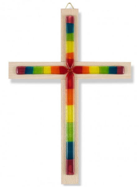 Kreuz aus Holz mit Glasauflage Regenbogen bunt