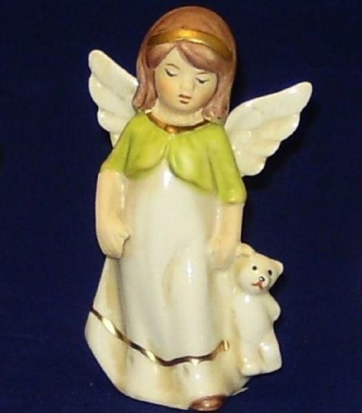 Engel Porzellan stehend 9,5cm mit Bärli