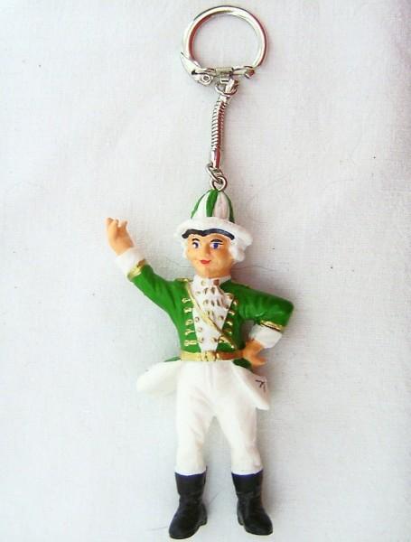 Schlüsselanhänger mit Gardemajor Figur aus Plastik grün-weiss