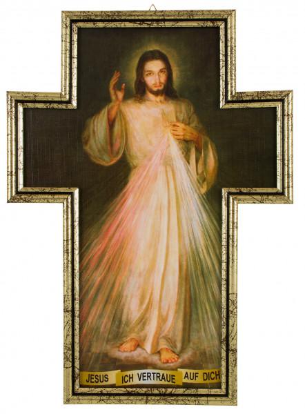 Bild Barmherziger Jesus Kreuzform gerahmt 36x26cm
