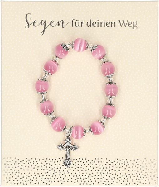 Stretch-Armband rosa Perlen - Segen für deinen Weg