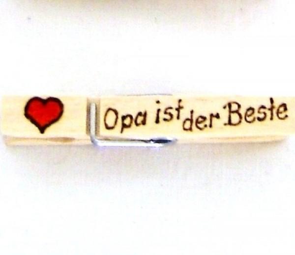 Holzklammer mit Herz und Spruch Opa ist der beste, einseitig