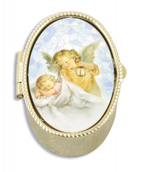 Metalletui goldfarben, oval Schutzengel mit Baby