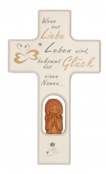 Kinderkreuz Holz Tonengel, klein, Wenn aus Liebe