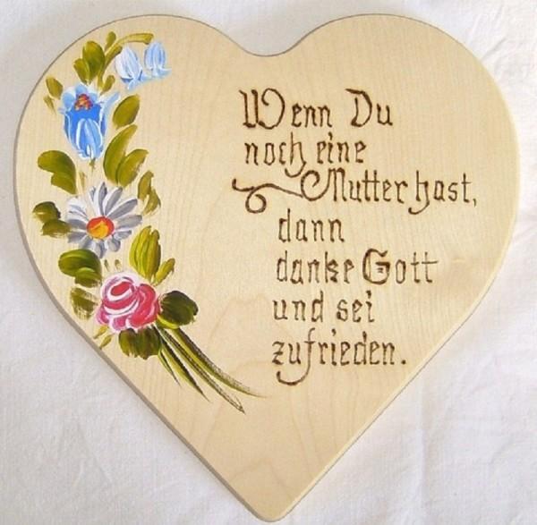 Holzherz 18x18cm Blumen Bauernmalerei u. Brandmalerei Spruch 01