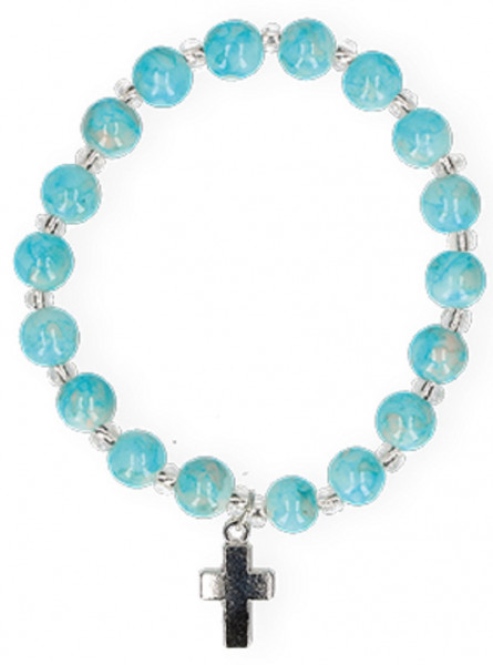 Armband mit marmorierten Glasperlen, Metallkreuz