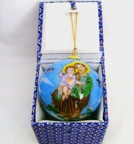 Glaskugel mit Box innen bemalt Josef mit Kind