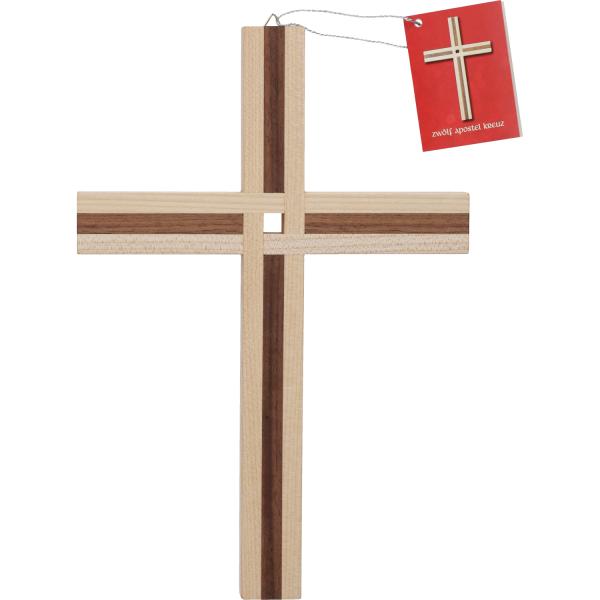 12-Apostel Kreuz Holz-Ahorn m. Nussbaum-Einlage