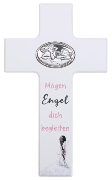 Kinderkreuz Holz weiß, Mögen Engel dich begleiten weiß/rosa