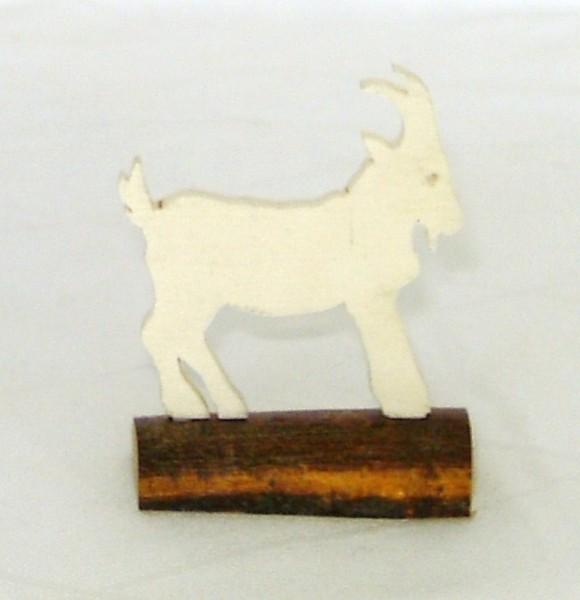 Tischkarte Holz Namensschild Ziege Sperrholz auf Naturstamm