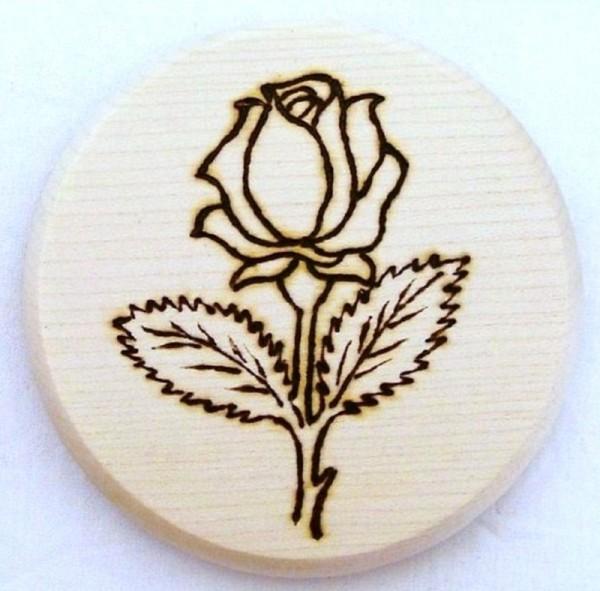 Bierdeckel Holz, Brandmalerei Motiv Blume Rose A, natur