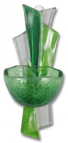 Weihwasserkessel Glas, Weihkessel grün-weiß