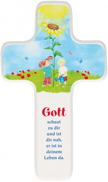 Kinderholzkreuz - Kreuz mit Motiv Gott schaut zu dir