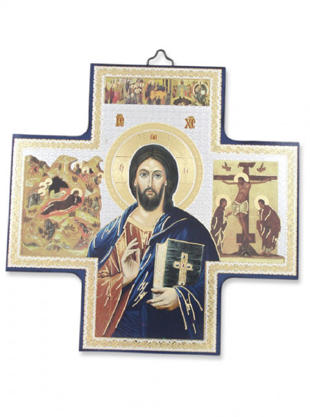 Ikone Pantokrator auf Holzplatte 15 x 15cm 04/48