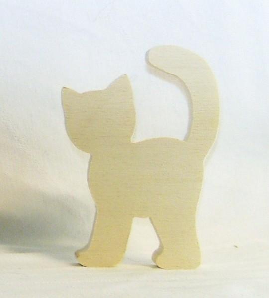 Tischkarte Holz Namensschild Katze stehend Sperrholz mit Name