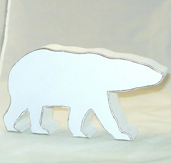 Dekofigur Eisbär aus MDF-Holz weiß im Shabby Chic Stil