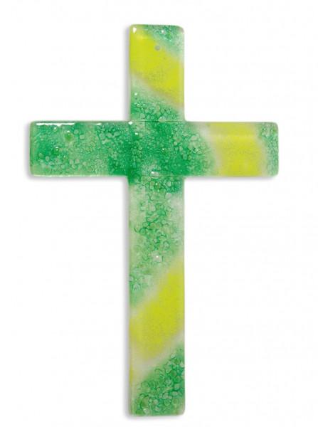 Glaskreuz handg. hellgrün-dunkelgrün 25x16x3,5cm