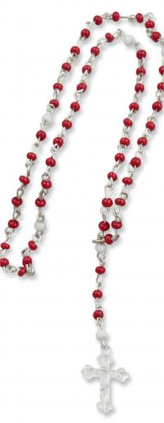 Mini Rosenkranz 20cm mit Glasperlen rot-weiß