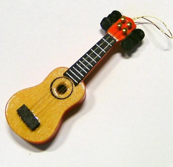 Miniatur Deko Holz Gitarre 7,5cm, Christbaumschmuck