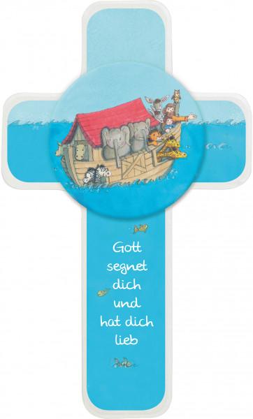 Kinderholzkreuz - Kreuz Arche Noah Holzapplikation