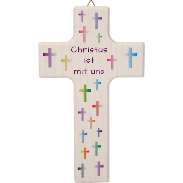 Kinderkreuz Holz natur, Kreuze bunt, Christus ist...