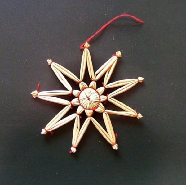 Strohstern 9cm Stern mit rotem Faden, Stroh Baumschmuck