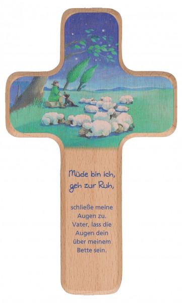 Kinderholzkreuz - Kreuz mit Motiv Guter Hirte