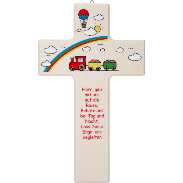 Kinderkreuz aus Holz, Motiv Herr geh mit uns