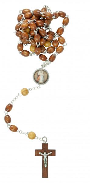 Rosenkranz gekettelt - Holzperlen oval, braun