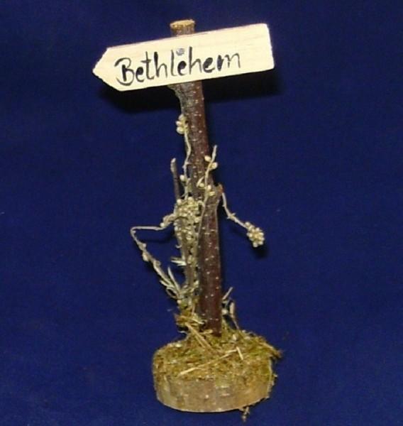 Krippenzubehör Miniatur Wegweiser Holz Bethlehem Schild