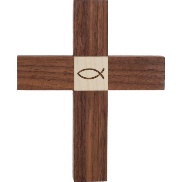 Kreuz Holz-Nussbaum, mit Einlage Ahorn Fisch, 16 x 13 x 1,8cm