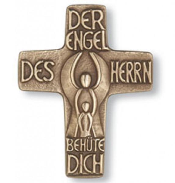 Kreuz aus Bronze - Schmuckkreuz mit Schutzengel