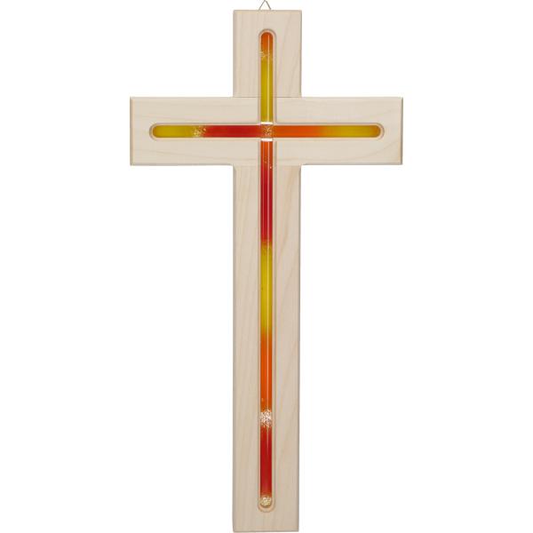 Kreuz aus Holz zum aufhängen mit Glaseinlage Orange