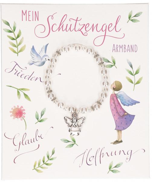 Stretch-Armband - mein Schutzengel, weiße Perlen