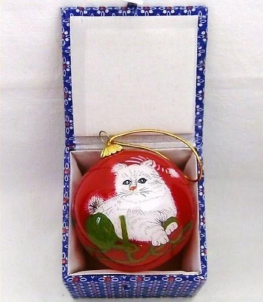 Glaskugel rot mit Box innen bemalt Katze