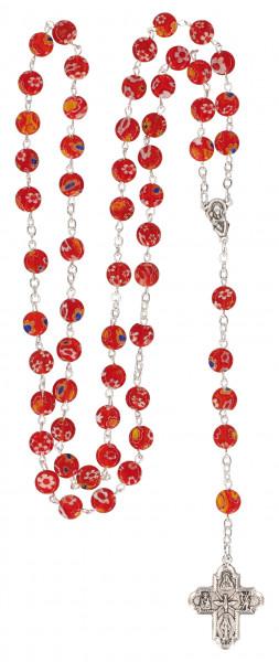 Rosenkranz gekettelt - mit rote Kunststoff-Perlen