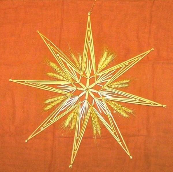 Großer Strohstern 45cm Stern, Fensterdeko Ährenstern