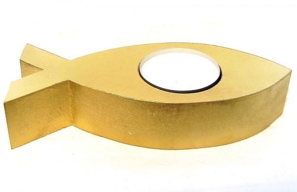 Deko Fisch 20cm Maxi-Teelichthalter gold MDF-Holz Devotionalien