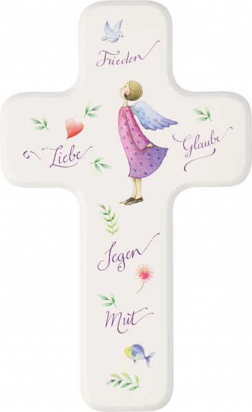 Kinderholzkreuz - Kreuz mit Motiv Gott segne und beschütze dich