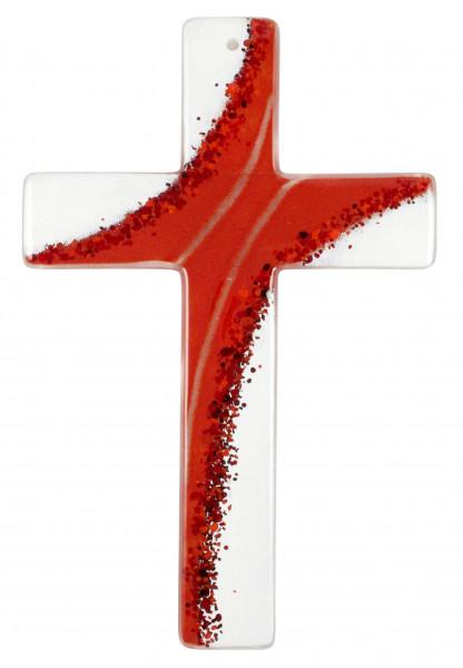 Glaskreuz handgearbeitet rot-weiß 20x13x3cm