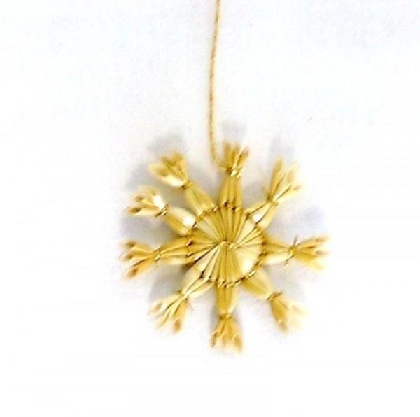 Strohstern 4cm Stern 8-9 zackig Goldfaden, Baumschmuck