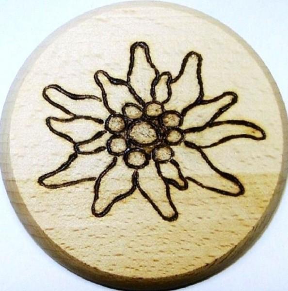 Bierdeckel Holz, Brandmalerei Motiv Edelweiss natur