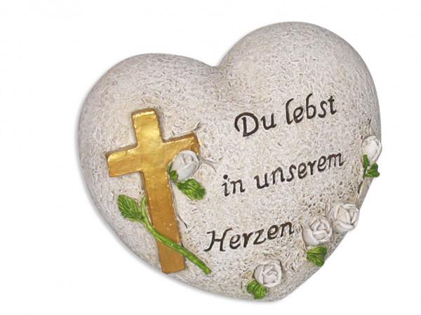 Herz mit Kreuz Du lebst in unserem Herzen 12x8,5