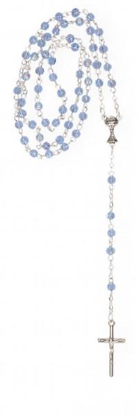 Rosenkranz gekettelt - mit hellblauen Glasperlen