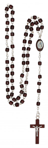 Rosenkranz gekettelt - dunkelbraune Holzperlen