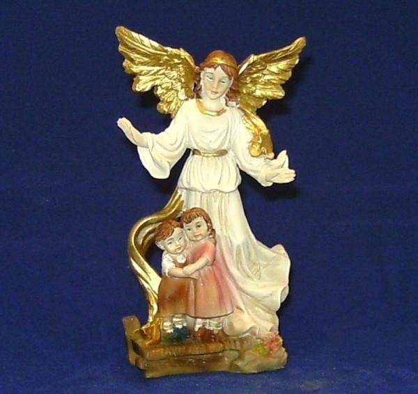Schutzengel stehend mit Kinder 7,6cm Polyresan Dekofigur Engel